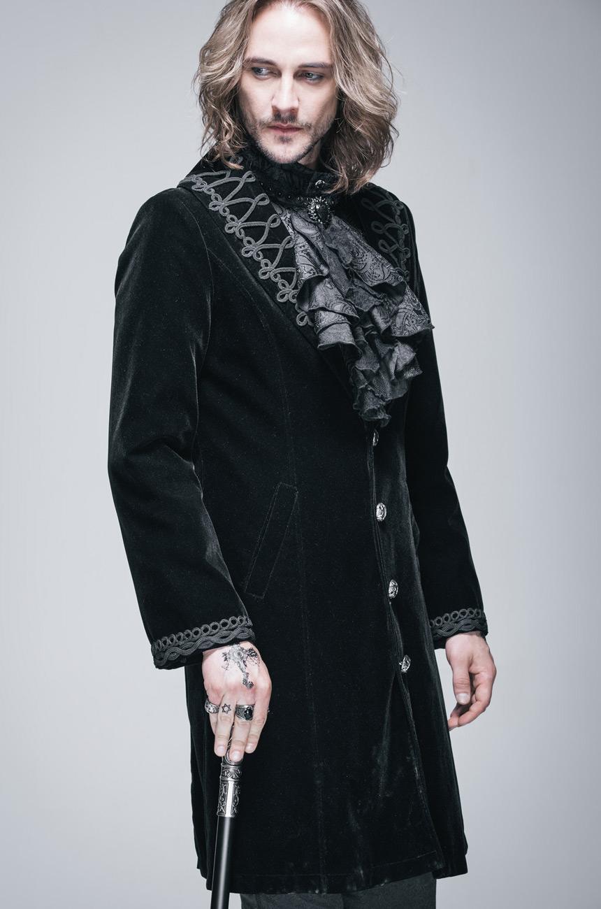 Avec Noir Homme Vampire Relevable Brodé Gothique Manteau Col Velours zxOOqvP