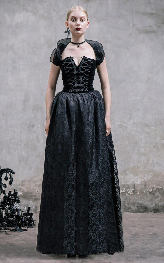 9dd74039d99 Devil Fashion SKT006 Robe longue noire velour laçage au dos et dentelle