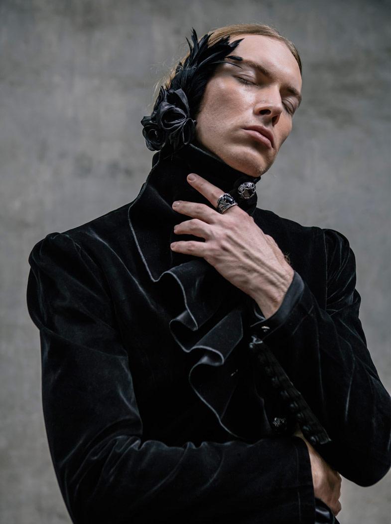 Col Long Velour Manteau Avec Broche Noir Gothique Détachable Homme 7Rqt6T