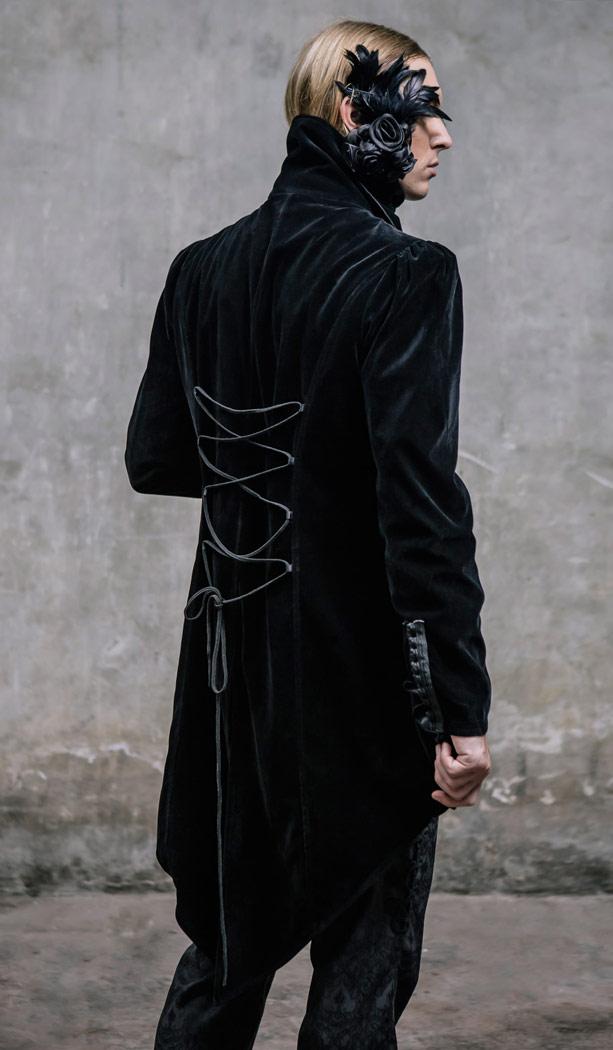 hommegothique noir broche détachable velour long élégant Manteau col avec MGqzUVpS