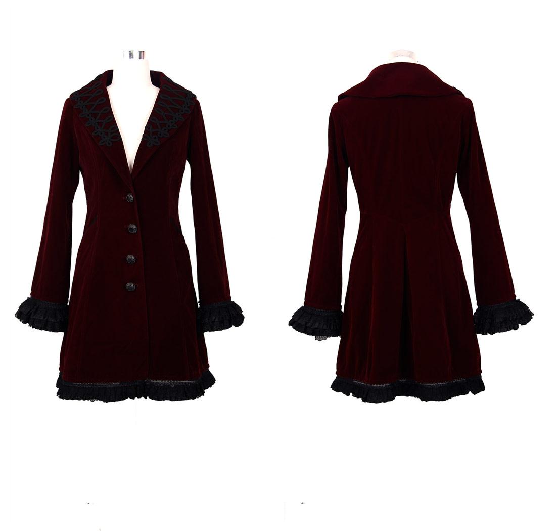 Brodé Gothique Foncé Femme Rouge Velours Vampire Manteau Aristocrate 1xq67fw6