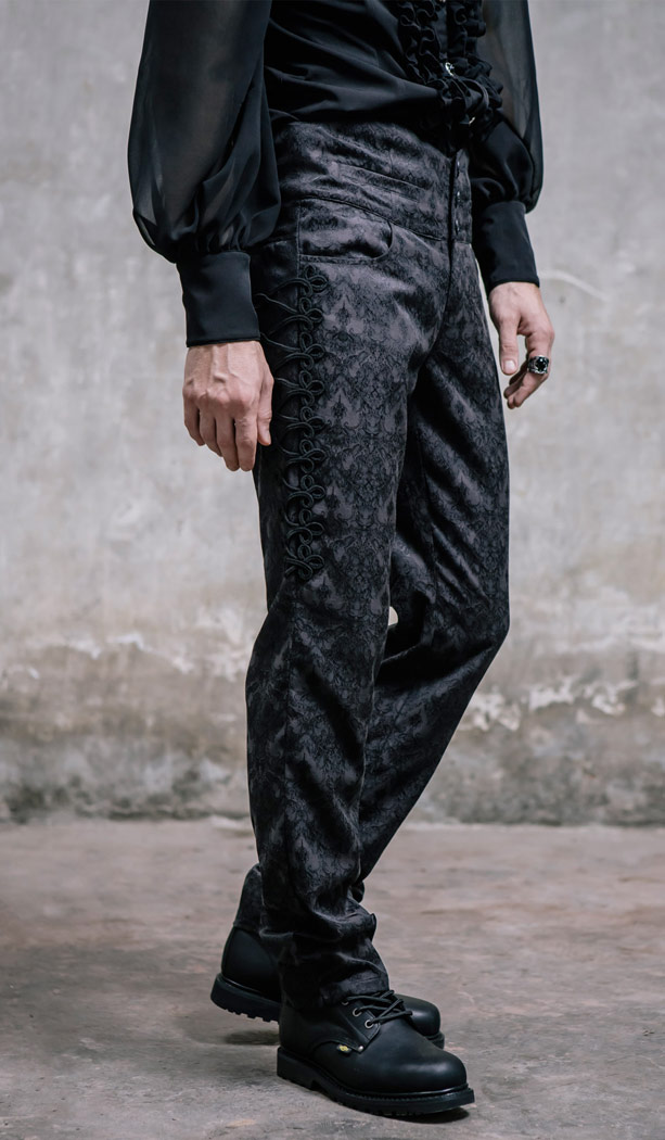 Black baroque pattern pants with decoration on the sides, elegant gothic