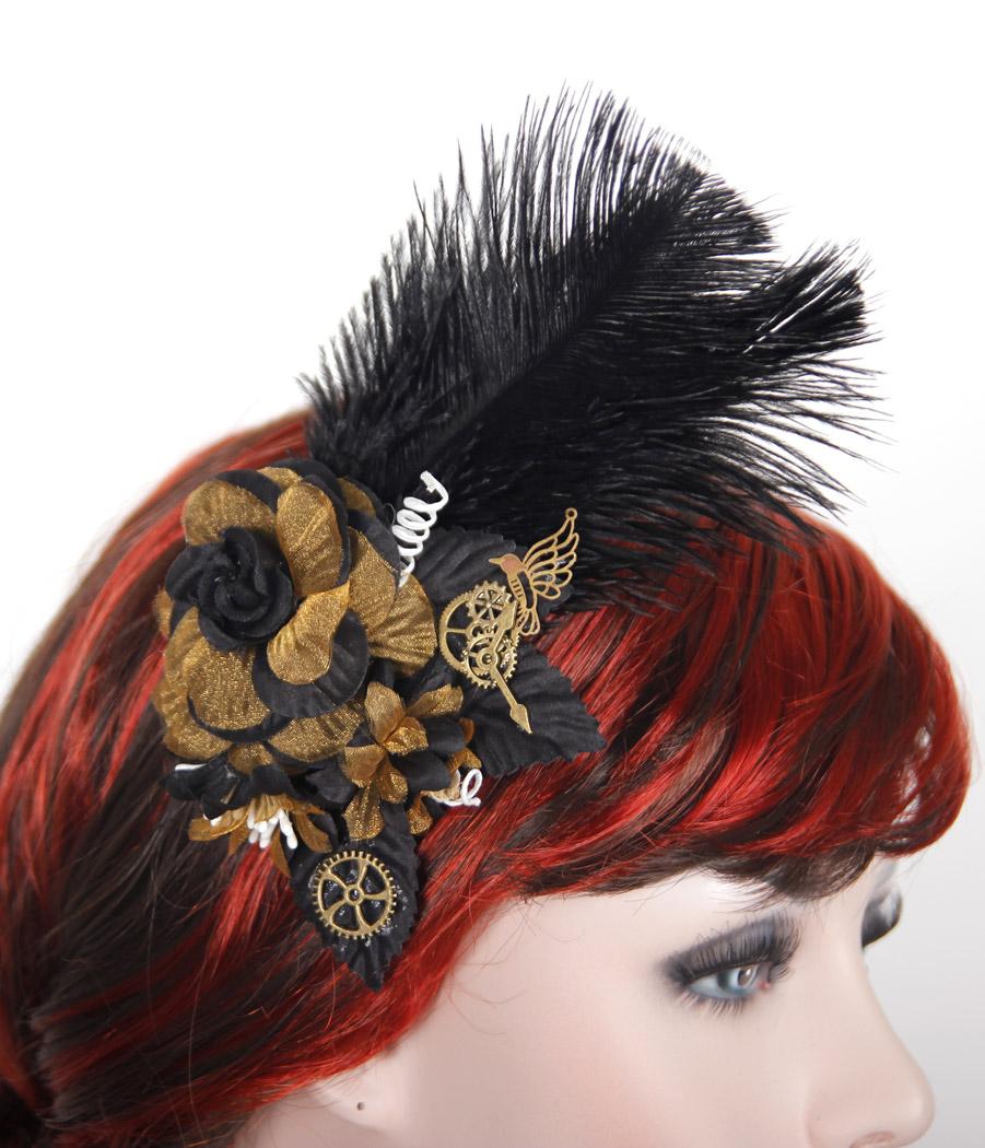 Diable Fashion Gothique Cheveux Slide Barrette Plume Rose Noire Plume Steampunk