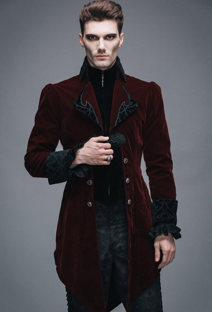Devil Fashion CT02202 Veste homme longue rouge et noire aristocrate en velours  avec broderies et col 68f9f36e6819