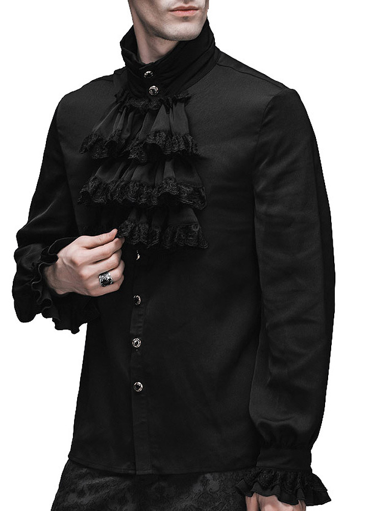 36b6babf50d324 Devil Fashion SJM126 Chemise à jabot noire homme, gothique élégant  aristocrate Size Chart. Photos de clients :