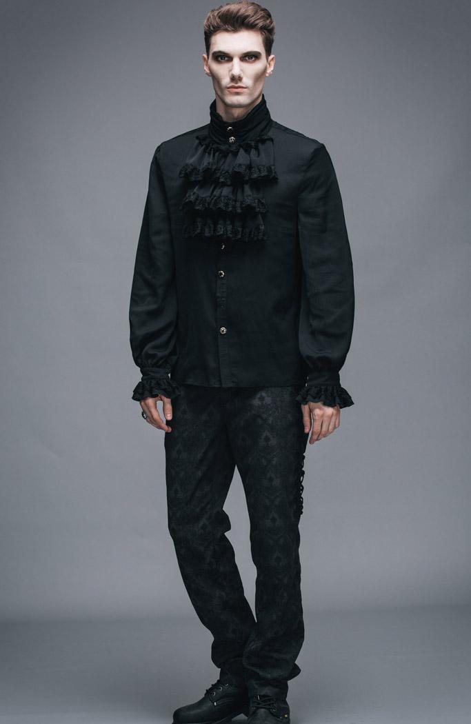 371fb602e37d2c Devil Fashion SJM126 Chemise à jabot noire homme, gothique élégant  aristocrate