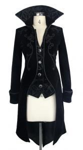 Devil Fashion CT04101 Veste femme en velours noir avec broderies, faux  2pcs, gothique élégant 12b5778dff94