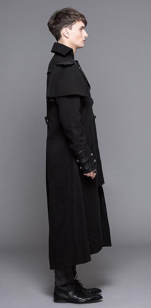 Manteau long noir classe avec broderies, effet 2pcs, gothique élégant, cocher