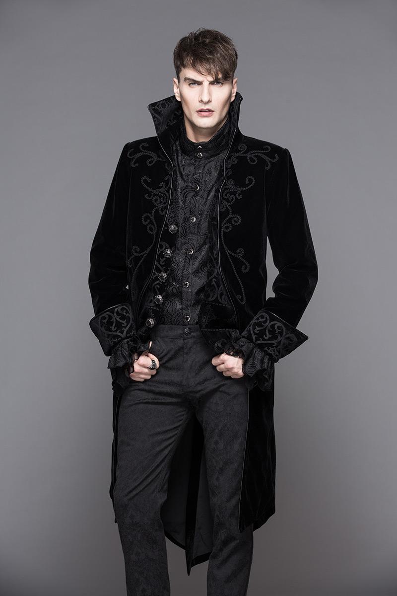 Devil Fashion CT02801 Veste homme en velours noir avec broderies 87483a50512
