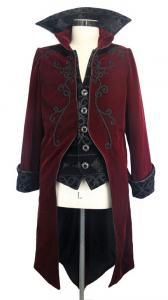 Devil Fashion CT02802 Veste homme en velours rouge avec broderies, faux  2pcs, gothique élégant 5d8c59ec047b