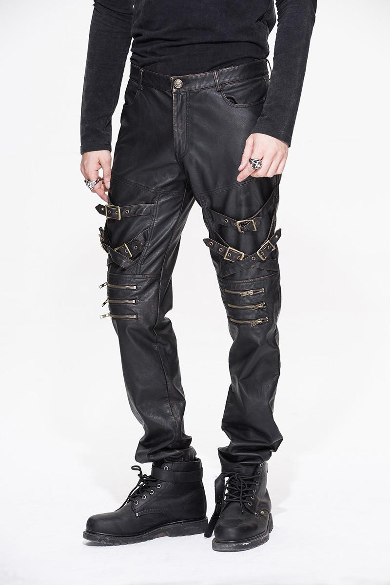 pantalon homme imitation cuir marron fonc avec sangles gothique rock steampunk devil fashion. Black Bedroom Furniture Sets. Home Design Ideas