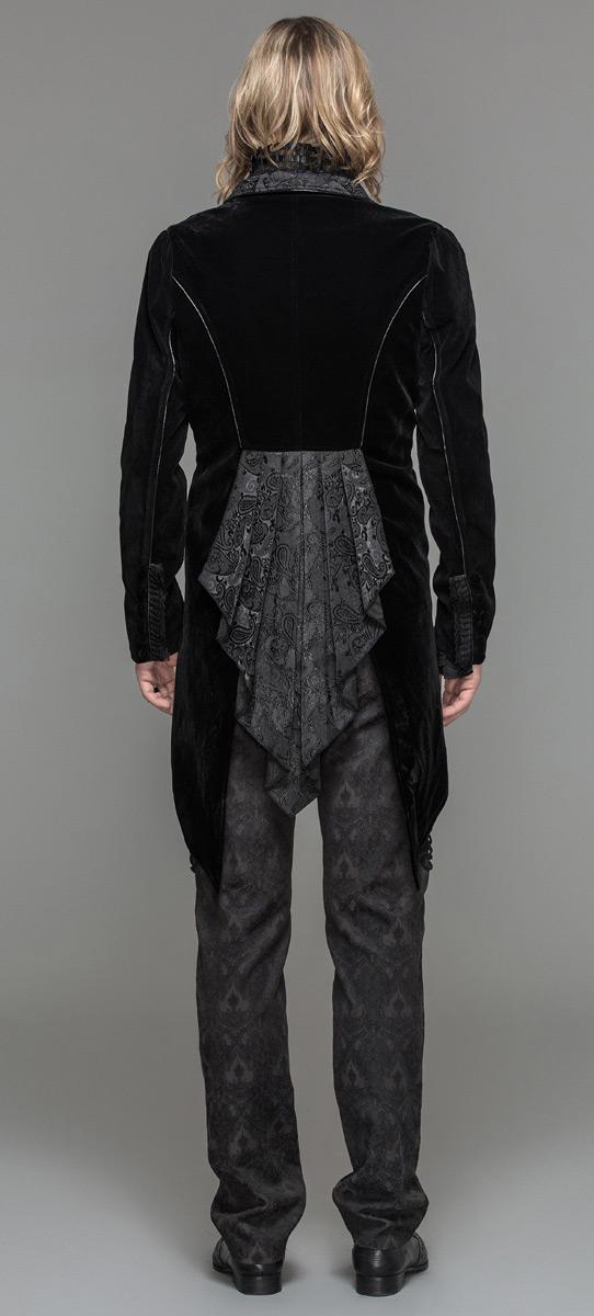 Devil Fashion CT05201 Veste homme en velours noir, attache brodée et col  décoré, élégant 6bbd5cdbc558