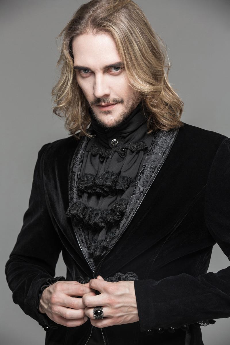 Devil Fashion CT05201 Veste homme en velours noir aaf05b33087