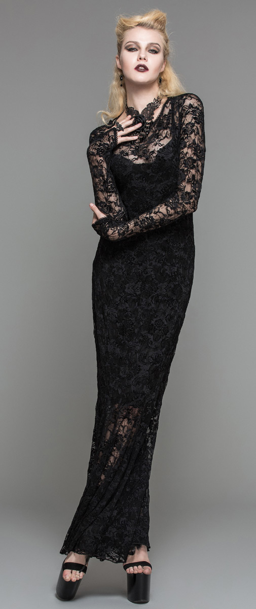 Full Transparent Black Lace Long Sleeved Dress Bare Back Gothic