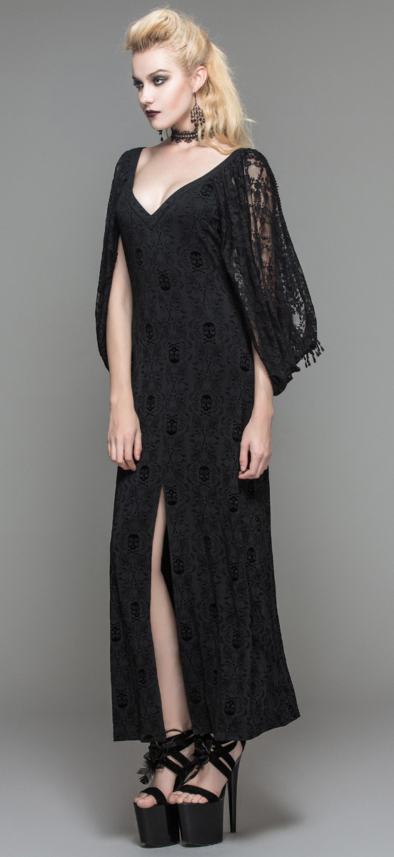 Long Black Dress With Draped Lace Sleeves Gothic Aristocratic
