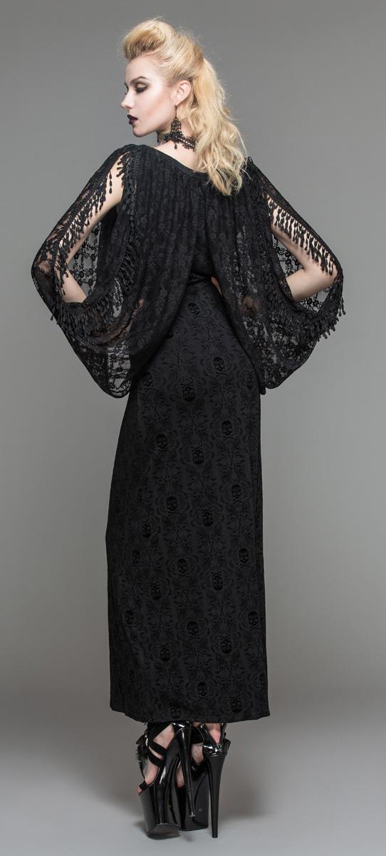 f14df86488ca Devil Fashion SKT035 Robe noire longue avec manches drapé en dentelle