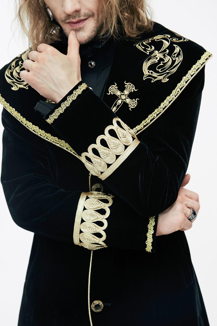 Devil Fashion CT05501 Manteau homme long en velours noir avec broderies et  galons dorés, élégant 2915b0e54e26
