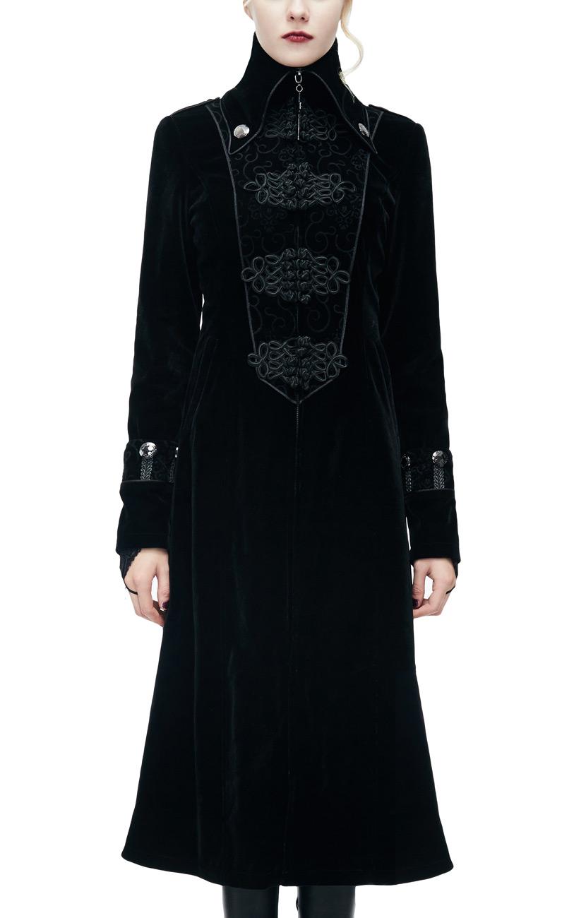 Col Manteau Et Long Femme Avec Montant Noir Galons En Velours 8f80qHFrw