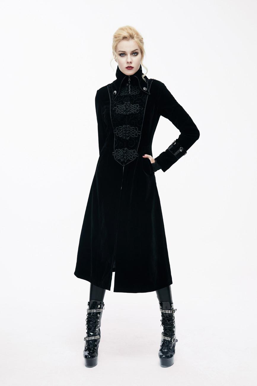 Long Noir Manteau Velours Fashion Élégant Ct06101 En Femme Galons Et Avec Devil Montant Col qY4n0xwUU