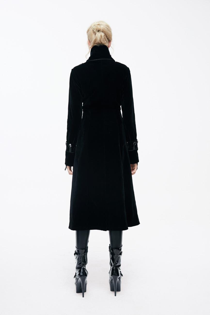 Et Velours Avec Col En Noir Femme Montant Long Galons Manteau wpFqfF