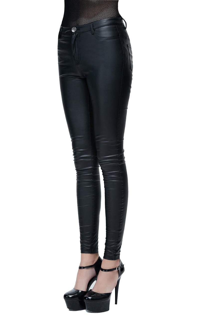 Cuir Femme Pantalon Pour Legging Synthétique Moulant Noir En wn0IR81q