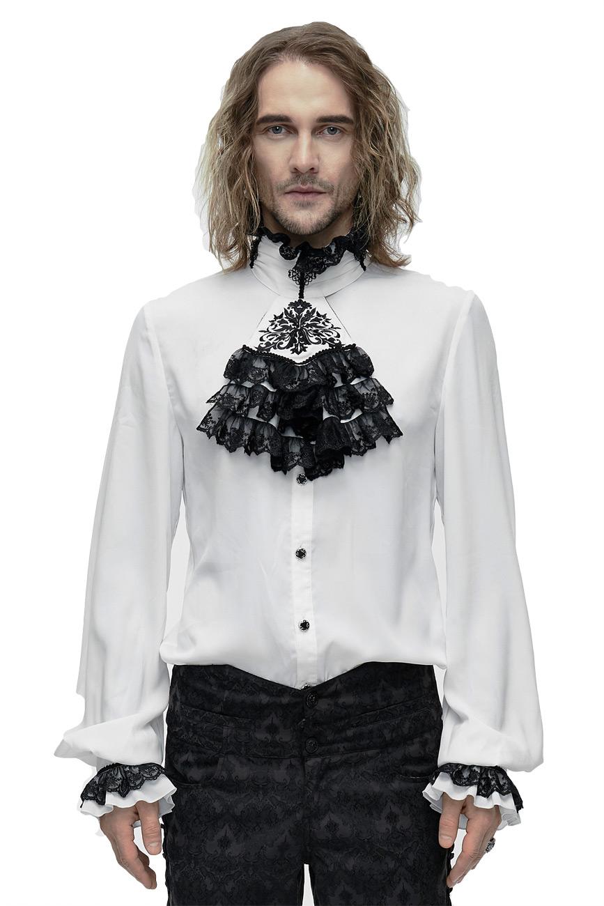grand choix de a002f 8a7fb Chemise blanche homme à jabot, broderies noires, manches bouffantes,  élégant gothique