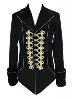 Devil Fashion Womens Gothic Jacket Black Velvet Cape Cloak Punk Vampire Faux Fur